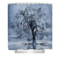 The Wishing Tree Cyanotype Shower Curtain by John Edwards