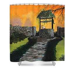 The Wishing Well Shower Curtain by David Kacey