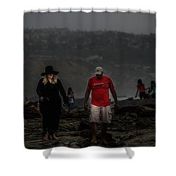 The Witch On The Beach Shower Curtain by Menachem Ganon