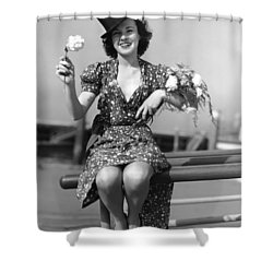 The Woman With Carnations Shower Curtain by Underwood Archives