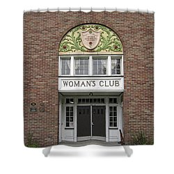 The Womans Club Bids You Welcome Shower Curtain by Daniel Hagerman