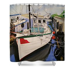 The Wooden Work Boats Shower Curtain