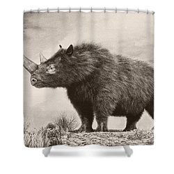 The Woolly Rhinoceros Is An Extinct Shower Curtain by Philip Brownlow