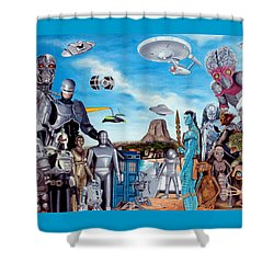 The World Of Sci Fi Shower Curtain by Tony Banos