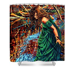Shower Curtain featuring the painting The World Unseen by Greg Skrtic