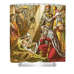The Worship Of The Wise Men  Shower Curtain by English School