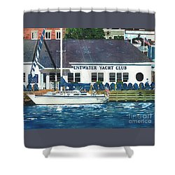 The Yacht Club Shower Curtain by LeAnne Sowa