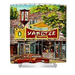 The Yangtze Restaurant On Van Horne Avenue Montreal  Shower Curtain by Carole Spandau
