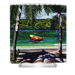 The Yellow And Red Boat Shower Curtain by Laura Forde