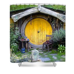 The Yellow Hobbit Door Shower Curtain by Venetia Featherstone-Witty