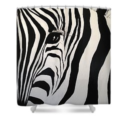 Shower Curtain featuring the painting The Zebra With One Eye by Alan Lakin