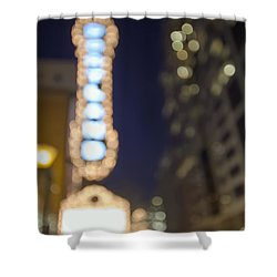 Theater Marquee Lights On Broadway Bokeh Background Shower Curtain