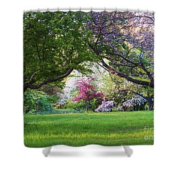 There Is No Place Like Spring Shower Curtain by Judy Via-Wolff