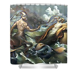 There's Something Fowl Afloat Shower Curtain by Patrick Anthony Pierson