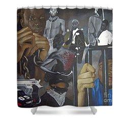 Think Black Man Shower Curtain