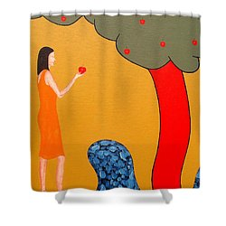 Thinking About The Apple Shower Curtain by Patrick J Murphy