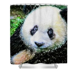 Thinking Of David Panda Shower Curtain by Lanjee Chee