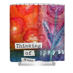 Thinking Of You Art Card Shower Curtain by Linda Woods