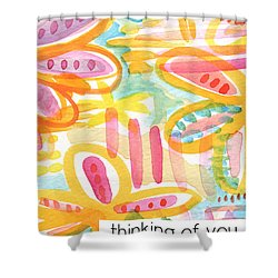 Thinking Of You- Flower Card Shower Curtain by Linda Woods