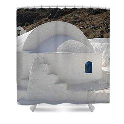 Shower Curtain featuring the photograph Thirasia Church Santorini Greece by Colette V Hera  Guggenheim