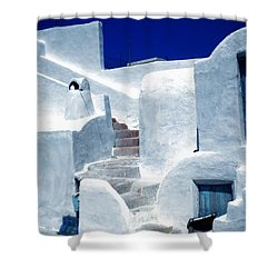 Thirasia Island Ancient House Near Santorini Greece Shower Curtain by Colette V Hera  Guggenheim