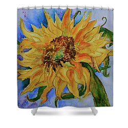 This Here Sunflower Shower Curtain by Beverley Harper Tinsley
