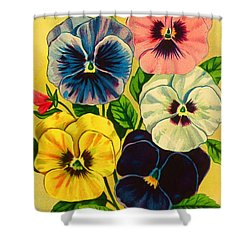 Pansy Flowers Antique Packaging Label  Shower Curtain