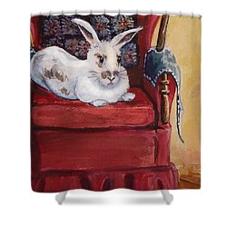 Shower Curtain featuring the painting This Is My Chair by Joy Nichols
