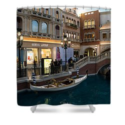 It's Not Venice - The White Wedding Gondola Shower Curtain