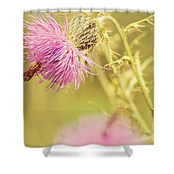 Thistle And Friend Shower Curtain by Lois Bryan