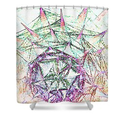 Thistlehead With Cobwebs And Dew Shower Curtain