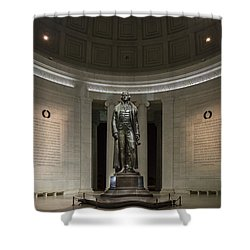 Shower Curtain featuring the photograph Thomas Jefferson Memorial At Night by Sebastian Musial