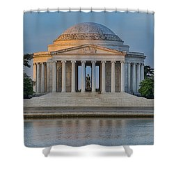 Shower Curtain featuring the photograph Thomas Jefferson Memorial At Sunrise by Sebastian Musial