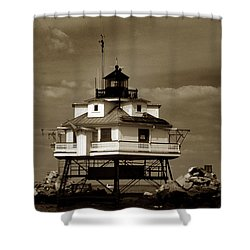 Thomas Point Shoal Lighthouse Sepia Shower Curtain by Skip Willits