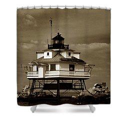 Thomas Point Shoal Lighthouse Sepia Shower Curtain