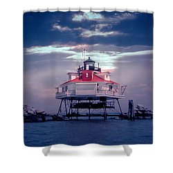 Thomas Point Shoal Lighthouse Shower Curtain by Skip Willits