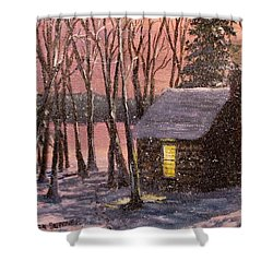 Thoreau's Cabin Shower Curtain by Jack Skinner