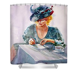 Shower Curtain featuring the painting Thoughtful... by Faruk Koksal
