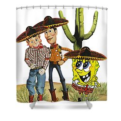 Shower Curtain featuring the painting Three Amigos by Ferrel Cordle