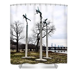 Three Angels In Winter Shower Curtain by Bill Cannon