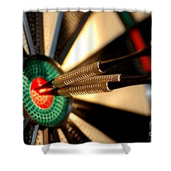 Three Arrows In The Centre Of A Dart Board Shower Curtain by Michal Bednarek