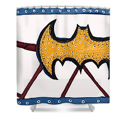 Shower Curtain featuring the sculpture Three Bat Signals by Robert Margetts