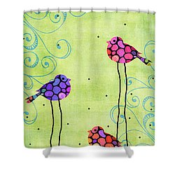 Three Birds - Spring Art By Sharon Cummings Shower Curtain by Sharon Cummings
