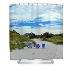 Three Blue Beach Chairs Shower Curtain