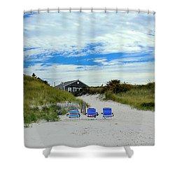 Three Blue Beach Chairs Shower Curtain by Amazing Jules
