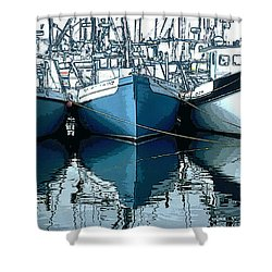 Three Boats In Blue Shower Curtain