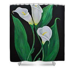 Shower Curtain featuring the painting Three Calla Lilies On Black by Janice Rae Pariza