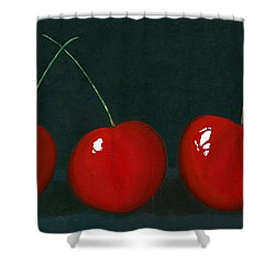 Three Cherries Shower Curtain by Karyn Robinson