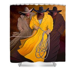 Shower Curtain featuring the painting Three Cowboys by Lance Headlee