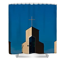 Shower Curtain featuring the photograph Three Crosses Of Livingway Church  by Ed Gleichman